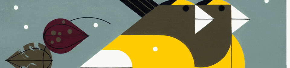 Charley Harper's Evening Grosbeaks giclée