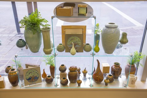Rookwood products displayed in the window